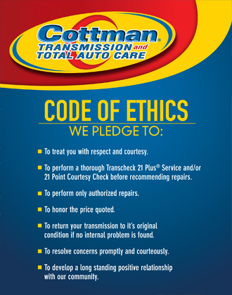 Cottman Transmission and Auto Care code of ethics