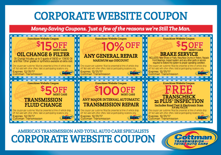 Cottman Transmission and Auto Repair Discounts Coupons