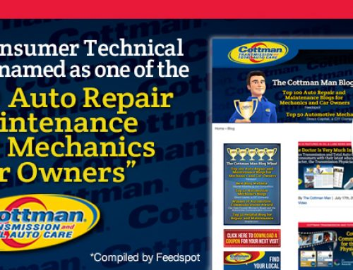 Cottman's Blog Reaches Top 100 Auto Repair and Maintenance Blogs for Mechanics and Car Owners