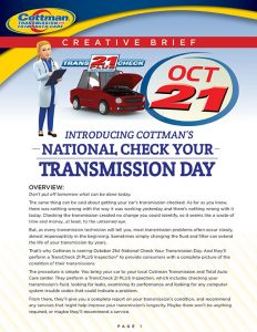 National Check Your Transmission Day Creative Brief